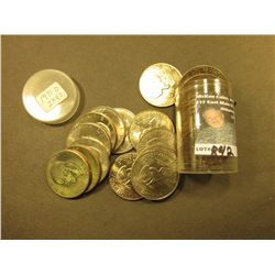 Roll of 23 pieces 1971 D Eisenhower Dollars. All BU and stored in a plastic tube.