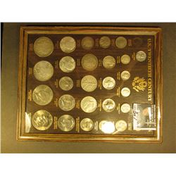 U.S. Twentieth Century Type Set in a glass faced frame. Includes 1889 Indian Cent, VF; 1943 Steel Ce