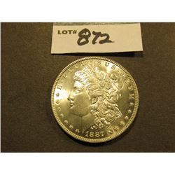 1887 P Morgan Silver Dollar. Brilliant Uncirculated.