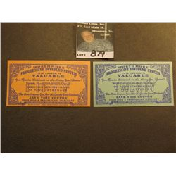 "1938 ""Worthmore Progressive Dividend System"" 20 & 50 Value Coupons from Lexington (Illinois) Merchan"