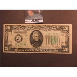 "Series 1934D $20 Federal Reserve Note ""J"" Kansas City, Missouri. Macro plate obverse L60, reverse ma"