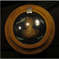 "15 1/2"" Round framed domed glass Bust of President Abraham Lincoln. 'Doc' had this priced at $350.00"