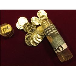 1960 D Original Gem BU Roll of Roosevelt Dimes in a plastic tube. (50 pcs.).