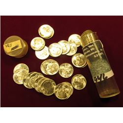 1946 S Original Gem BU Roll of Roosevelt Dimes in a plastic tube. (50 pcs.).