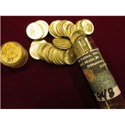 1947 D Original Gem BU Roll of Roosevelt Dimes in a plastic tube. (50 pcs.).