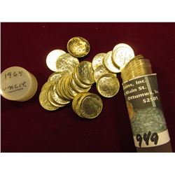 1964 P Original Gem BU Roll of Roosevelt Dimes in a plastic tube. (50 pcs.).