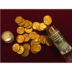 1946 D Original BU Roll of Lincoln Cents in a plastic tube. (50 pcs.).