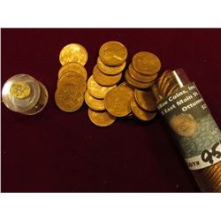 1954 P Original BU Roll of Lincoln Cents in a plastic tube. (50 pcs.).
