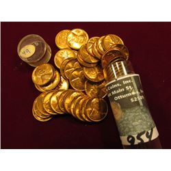 1949 P Original BU Roll of Lincoln Cents in a plastic tube. (50 pcs.). Maybe a few carbon specks.