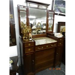 Brass Accent Marble Top Chest of Drawers w/Mirror