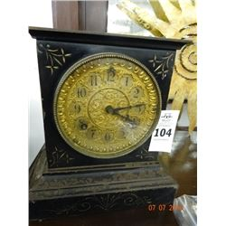 Vintage Mantle Clock - Metal Case, Key & Pendulum Inside