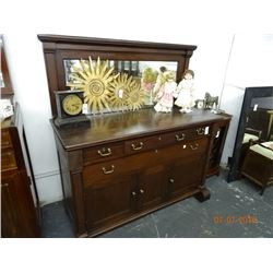 Brass Accent Mahogany Hutch