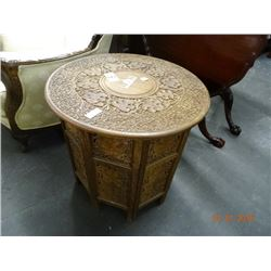 Vintage Highly Ornate Teak Carved Wood Fold-Up Side Table