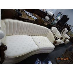 Wood Trimmed Sofa & Chair Set