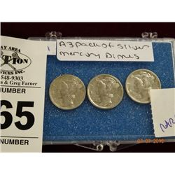 3-Pack of Silver Mercury Dimes