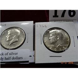 2 Pack of Silver Kennedy Half Dollars