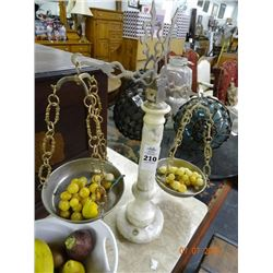 Marble Alabaster Arm Balance Scale w/Marble Grapes