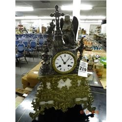 Cast Metal Religious Mantle Clock - 2 Chips