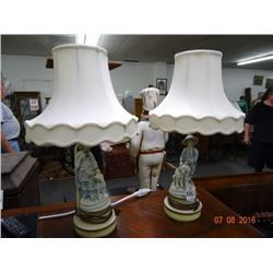 Boy/Girl With Dog Table Lamps w/Shades (Pair)