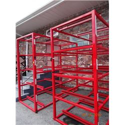 2 Red Steel Appx. 9' T x 9' W x 4' D Stock Rack - Welded Frame - 2 Times the Money