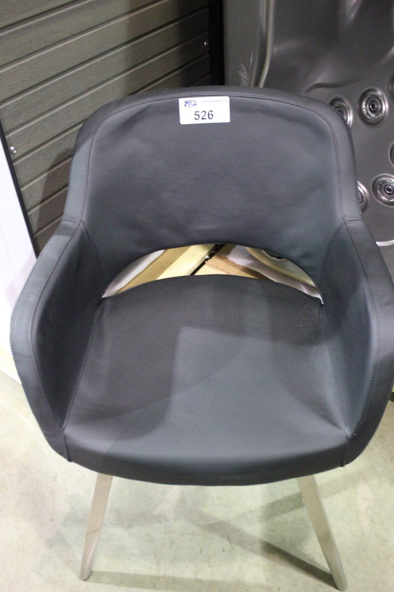 Black Leather Amp Metal Curved Back Tub Chair Able Auctions