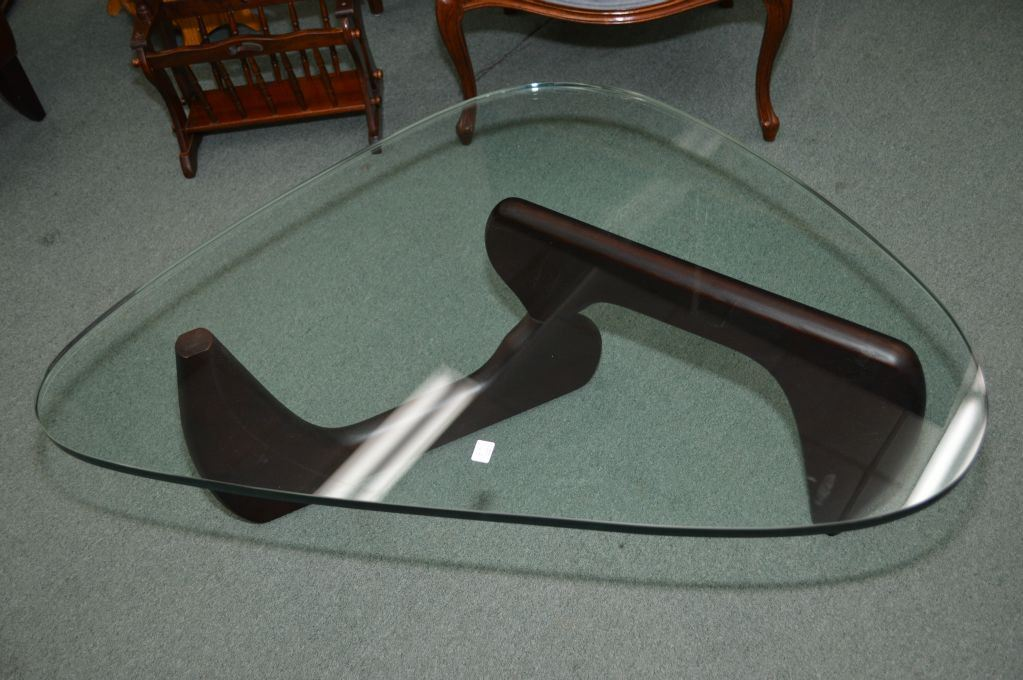 Kidney Shaped Modern Coffee Table With Glass Top And Wooden Frame