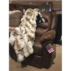 Luxury Fur Coyote Blanket and Powered Recliner