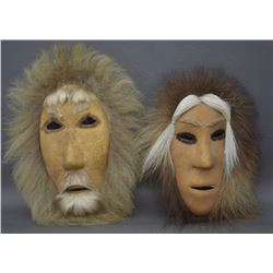 TWO ESKIMO HIDE MASKS