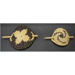 TWO PIMA  BASKETRY HAIR BARRETTES
