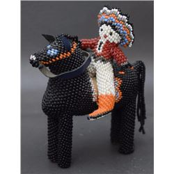 ZUNI BEADED HORSE AND RIDER