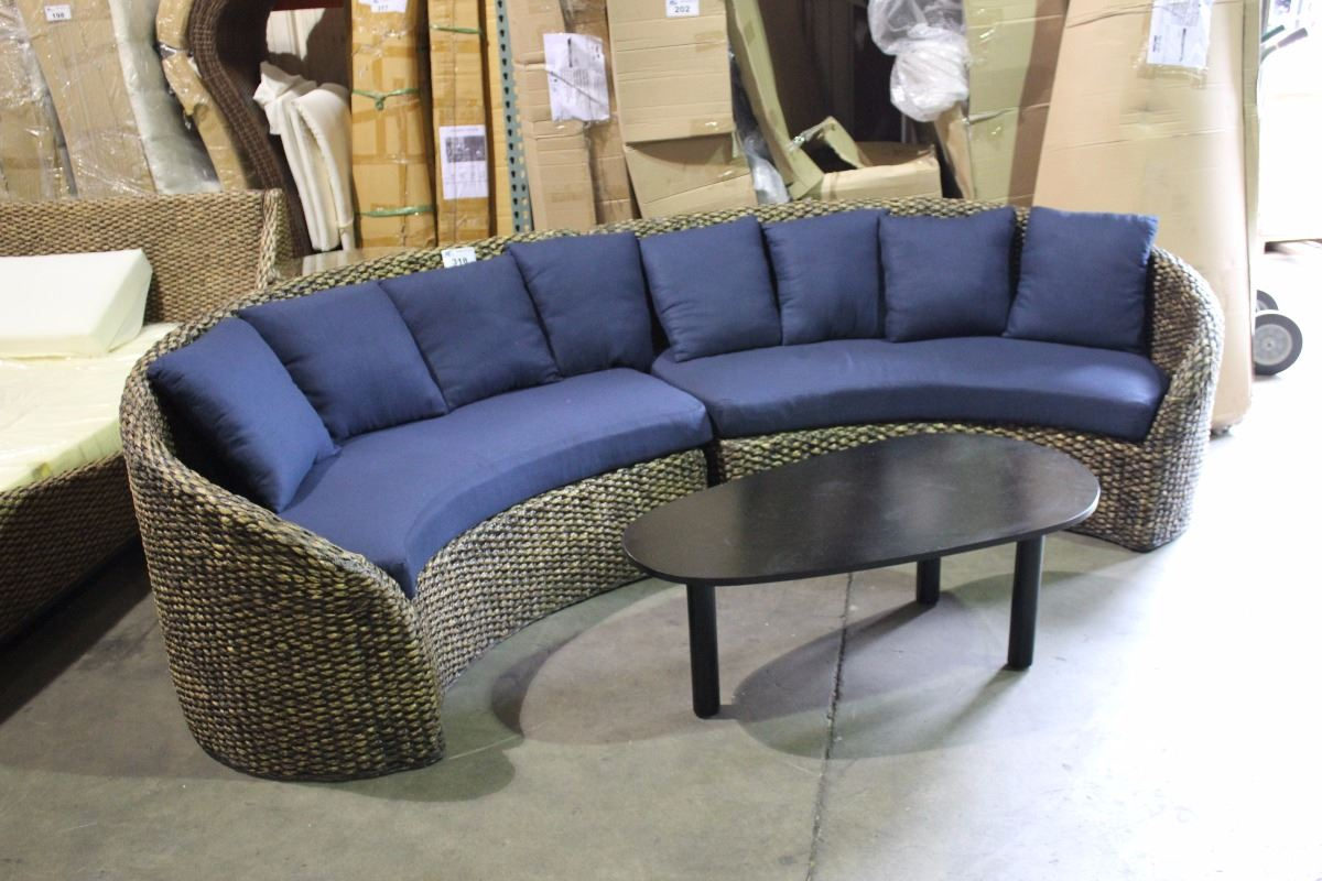Curved woven rattan blue 2 piece sectional sofa with for 2 piece curved sectional sofa