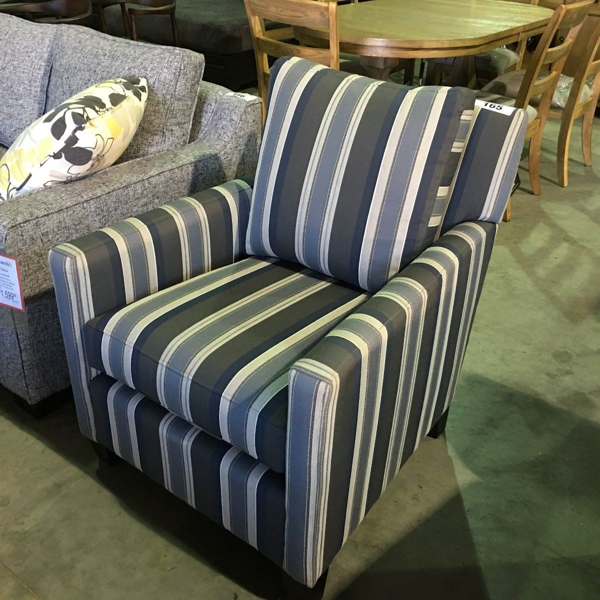 STYLUS CLARK BLUE & GREY STRIPED ACCENT CHAIR