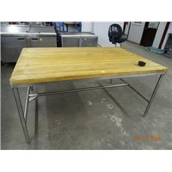 4' x 6' Butcher Block Table w/S/S Base