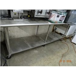 8' S/S Bullnose Table w/Undershelf on Casters