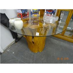 Tree Stump Glass Top Table - No Shipping