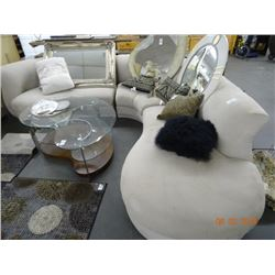 Rounded Beige 3-Section Sofa w/Open End