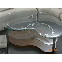Contemporary Kidney Shaped Glasstop Coffee Table