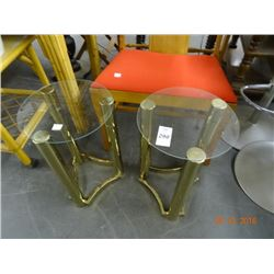 Brass and Glass Side Tables (2)