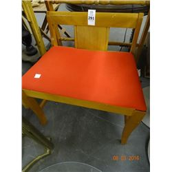 Red Padded Chair & Clothes Rack