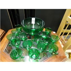 Green Punch Bowl Set