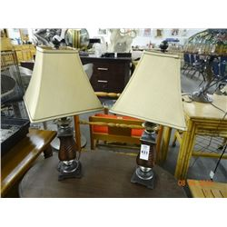 2 Wood Table Lamps - 2 Times the Money
