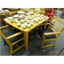 Pine Dining Room Table w/4 Slat Back Chairs