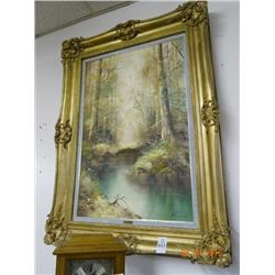 Guilded Framed Artist Signed Oil On Canvas Forest Scene