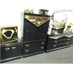 Brass Accent Black Laquer Bedroom Suite