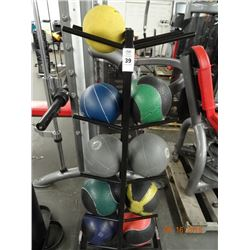 Lot of Weighted Exercise Balls w/Rack
