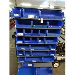 Parts Cabinet & Bins - Double Sided on Castors