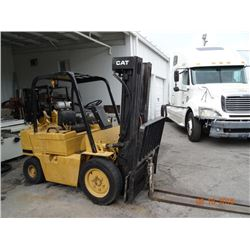 Cat V500 5KLb. Capacity Air Tire LP Forklift w/Sideshift & Triple Mast. Nds. Engine Rebuild S/N 3EC3