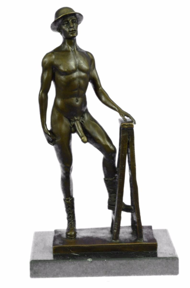 Nude man woman and bronze sculpture