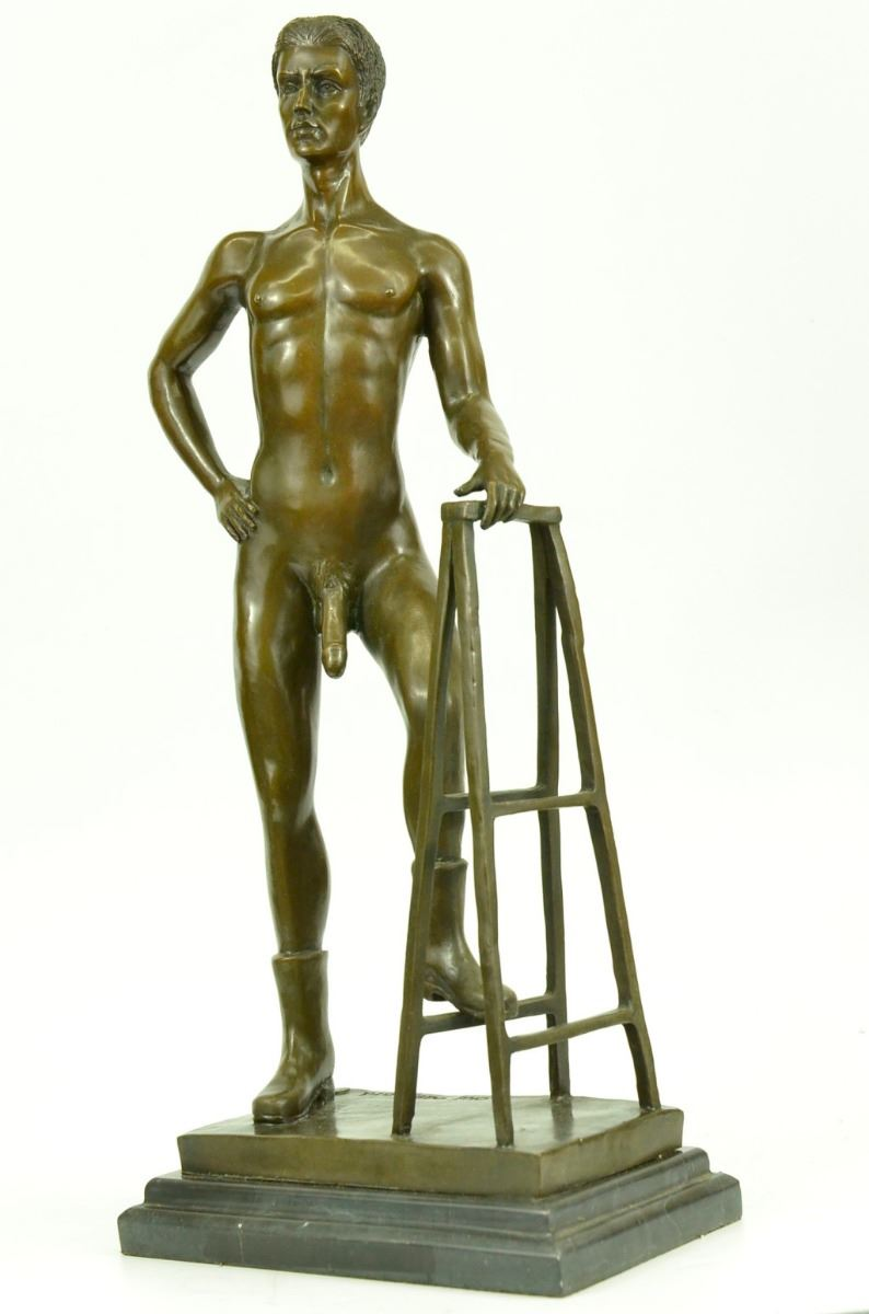 Puperty ) nude ... Image 7 : Nude Male bronze Statue on marble ...