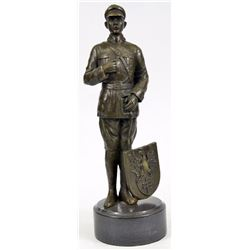 Russian Emperor Guard With Eagle Symbol Bronze Sculpture on Marble Base